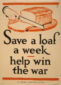 Vintage World War 1 Poster Save a loaf a week - help win the war.